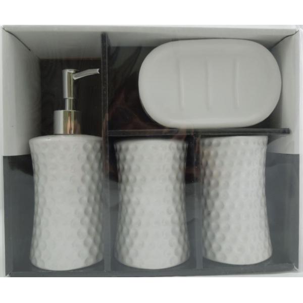 Set accesorii baie din ceramica model buline alb 1
