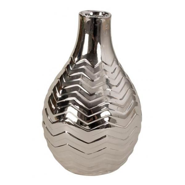 Vaza ceramica argintie 23.5 cm 0