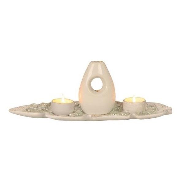 Set Vaza si suporturi lumanari, NAGO, Moderna, cu Tava inclusa, 28 cm x 35cm, Alb/Fildes 0
