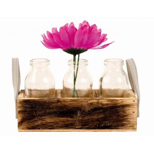 Set de trei Vaze din sticla, in suportLadita din lemn,Maro/Transparent, H 19x11x6.5 cm 0