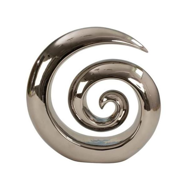 Decoratiune de Interior, Elegant, din Rasina, Polirasina /Polirezina, model Spirala, NAGO®, H 30 cm, Argintiu 0