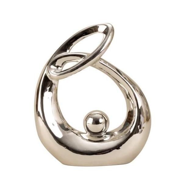 Decoratiune de Interior, Elegant, Abstracta, Minimalista, NAGO®, H 22.5 cm, Argintie [0]