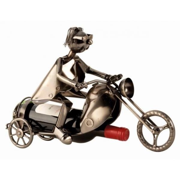 Suport Metalic lucios pentru Sticla de Vin, model Motociclist, Capacitate 1 Sticla, Argintiu/Negru, H 27cm 0
