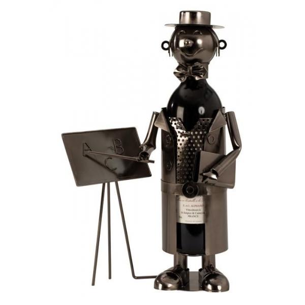 Suport Metalic pentru Sticla de Vin, model Profesor, Capacitate 1 Sticla, Negru/Argintiu, H 37x23.5cm 0