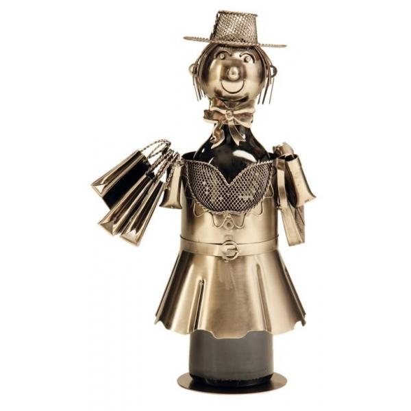 Suport pentru Sticla Vin, model Fata la Cumparaturi, Metal Lucios, Capacitate 1 Sticla H 33 cm 0