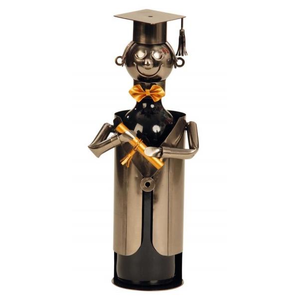 Suport din Metal pentru Sticla de Vin, model Student/Absolvent, Capacitate 1 Sticla, Negru/Argintiu, H 22 cm 0