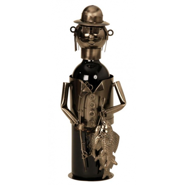 Suport pentru Sticla Vin, NAGO, model Pescar, metal lucios, capacitate 1 Sticla, H 34 cm, Maro/Negru 0