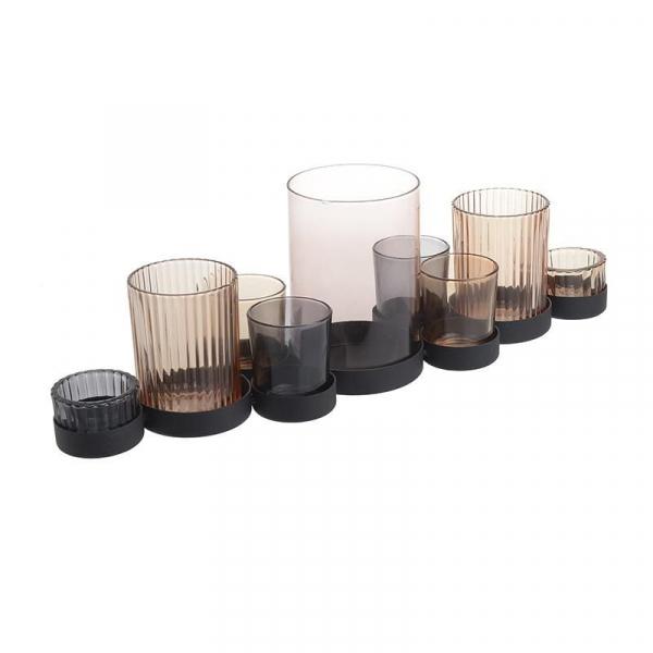 Suport 9 lumanari metal/sticla 45.5X11.5X15 cm 0