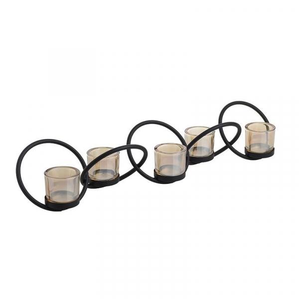 Suport 5 lumanari metal/sticla 60.5X12X11 cm 0
