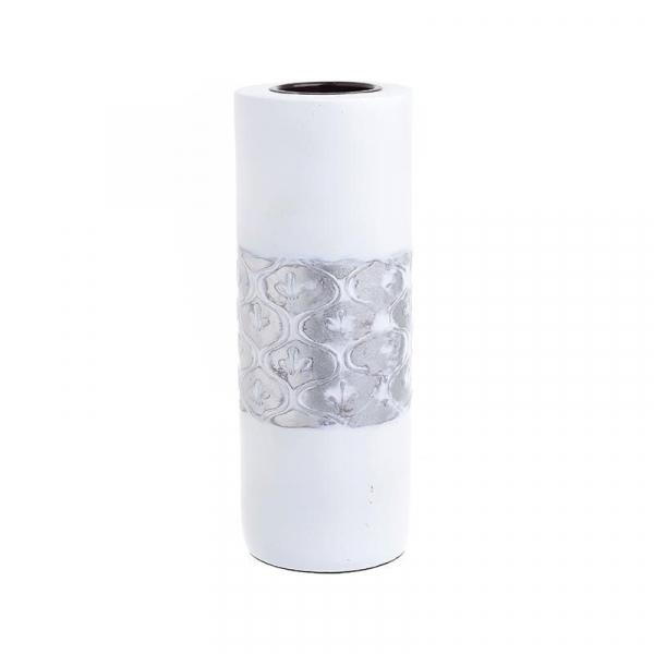 Suport lumanare polirezina alb/argintiu D7X20 cm 0