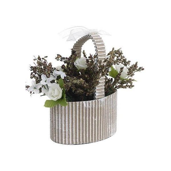 Aranjament flori artificiale, in cosulet de carton, alb, H 10 cm 0