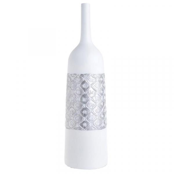 Vaza alb/argintiu din polirezina D16,5Χ59 cm 0