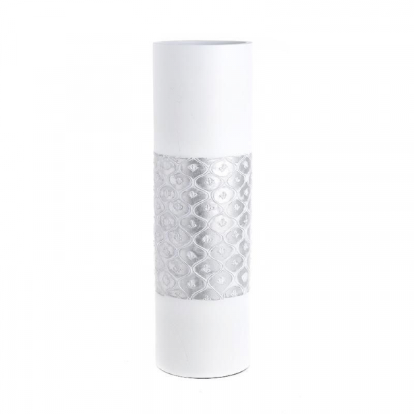Vaza alb/argintiu, din polirezina, 50 cm x 15 cm 0