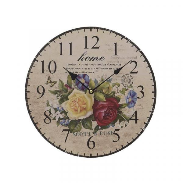 Ceas de perete crem cu flori din MDF 34X4.5cm 0