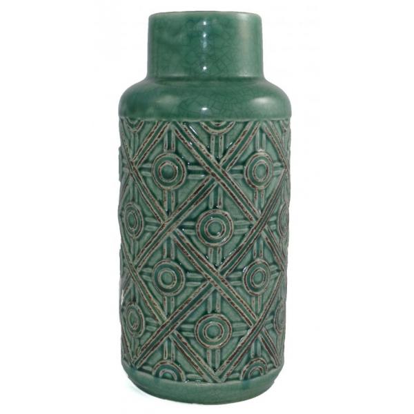 Vaza ceramica, 26cm, Verde, model romburi 0