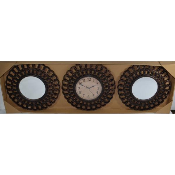 Set 2 oglinzi si ceas perete 32cm bronz inchis 0