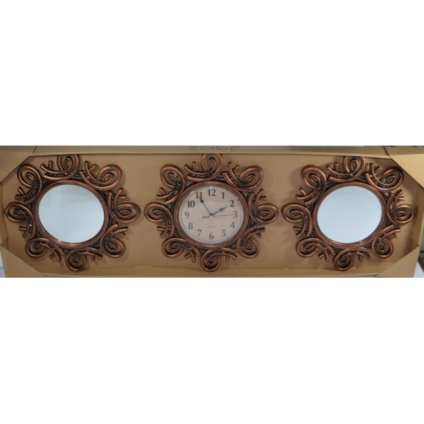 Set 2 oglinzi si ceas perete 32cm bronz 0