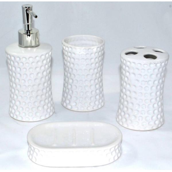 Set accesorii baie din ceramica model buline alb 2