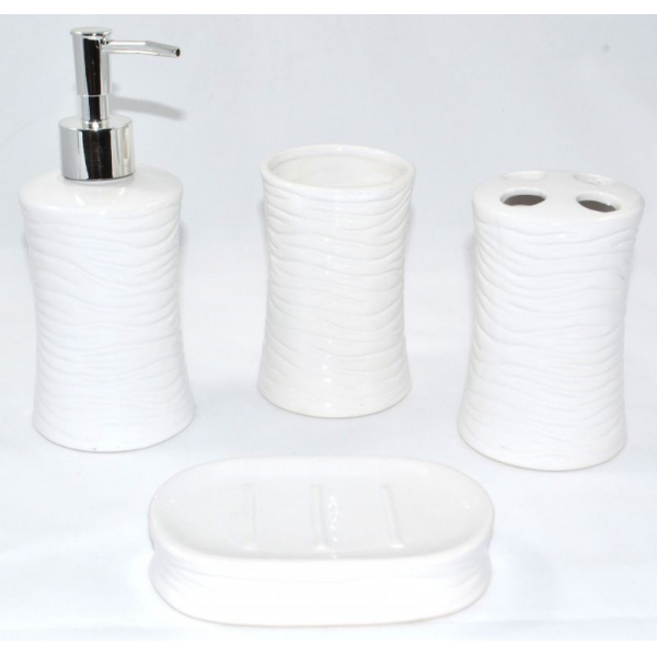 Set accesorii baie din ceramica  model valuri alb 3