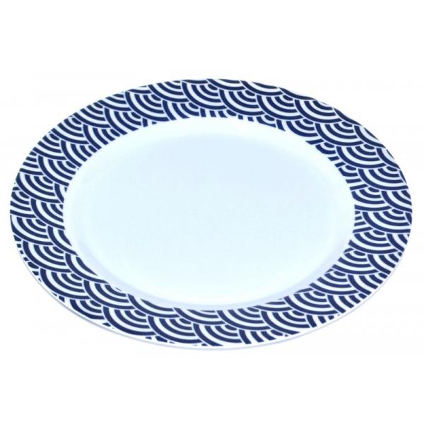 Farfurie din melamina, model valuri, 20 cm, Albastru 0