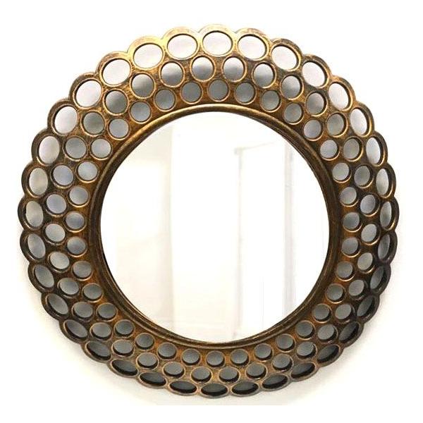 Oglinda plastic cu rama gauri /dantela bronz 0
