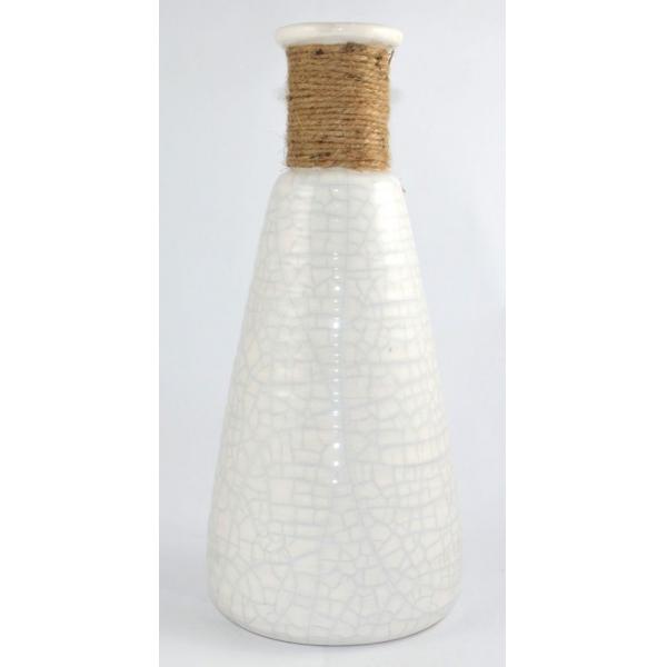Vaza ceramica alba 28cm cu sfoara 0