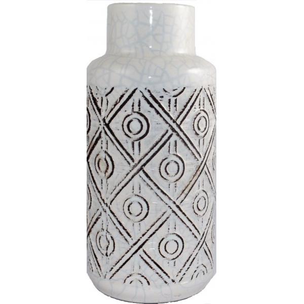 Vaza ceramica, 26cm, Alba, model romburi 0