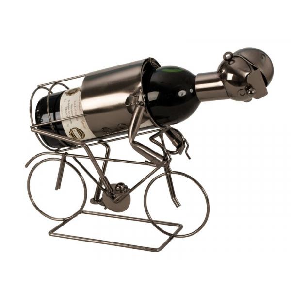 Suport pentru Sticla Vin, model Biciclist, Metal Lucios, Capacitate 1 Sticla, H 24.5 cm 2