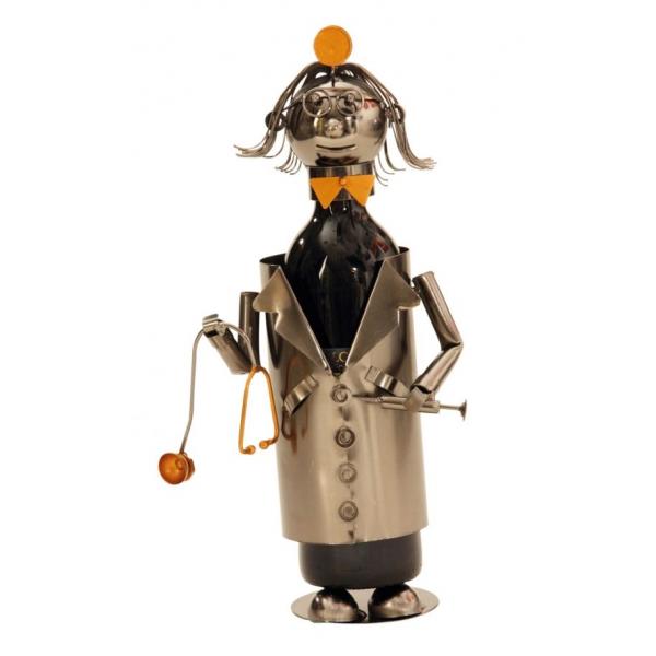 Suport pentru Sticla de Vin din Metal, model Doctor, Capacitate 1 Sticla, Cupru, H 22 cm 0
