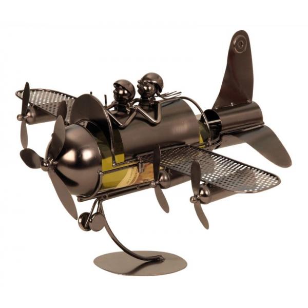 Suport pentru Sticla de Vin din Metal, model Avion, Capacitate 1 Sticla, Cupru, H30cm L 49 cm 1