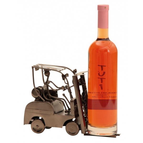 Suport din Metal pentru Sticla de Vin, Cupru, model Stivuitor, Capacitate 1 Sticla, H 17 cm, L 25 cm 0