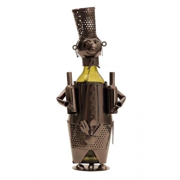 Suport din Metal pentru Sticla de Vin, model Barman, Capacitate 1 Sticla, Negru/Argintiu, H 38 cm 0