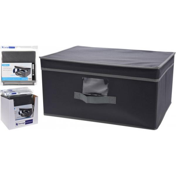 Cutie depozitare din material textil cu capac, 31x28x15.5cm, culoare Gri 1