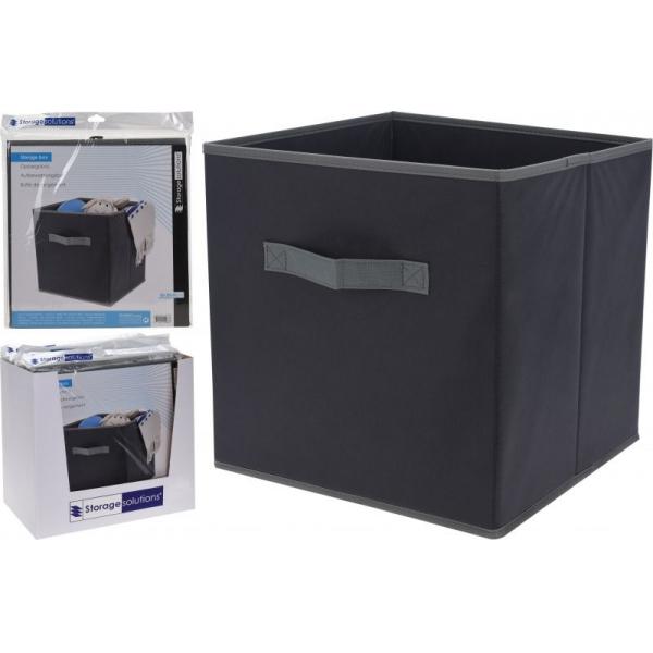 Cutie depozitare textil cu maner, culoare Neagra, 30x30x30 cm 1