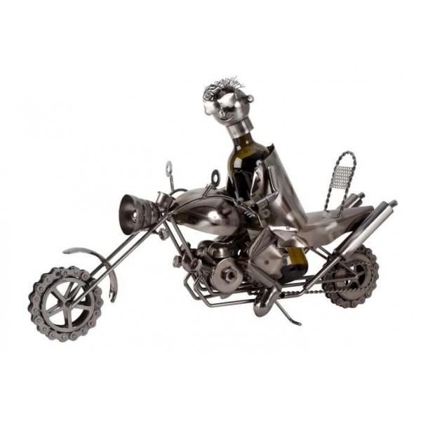 Suport din Metal lucios pentru Sticla de Vin, model Motociclist, Capacitate 1 Sticla, Argintiu/Negru, H41cm L61cm 0