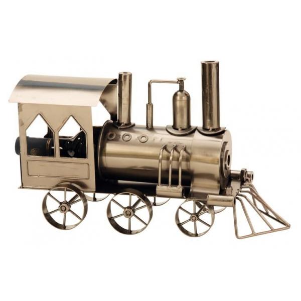 Suport din Metal lucios pentru Sticla de Vin, model Locomotiva cu Aburi, Capacitate 1 Sticla, Argintiu/Negru, H 23 cm L 37.5cm [6]