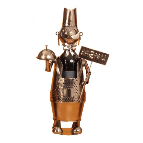 Suport din Metal lucios pentru Sticla de Vin, model Ospatar, aspect Vintage Capacitate 1 Sticla, H 41 cm [5]