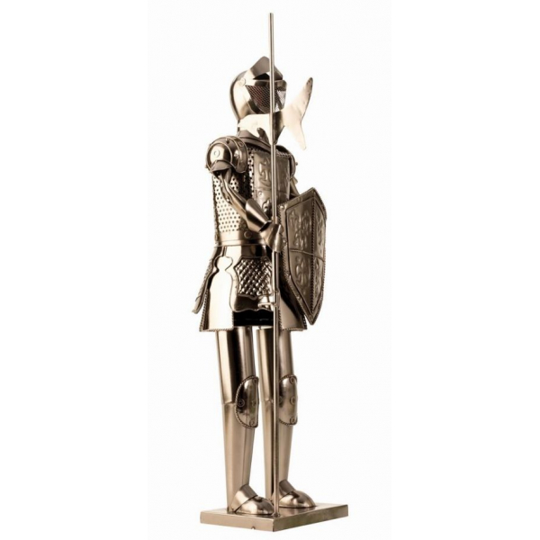 Suport din Metal lucios pentru Sticla de Vin, model Cavaler in Armura, Capacitate 1 Sticla, Crom Lucios, H 61 cm [0]