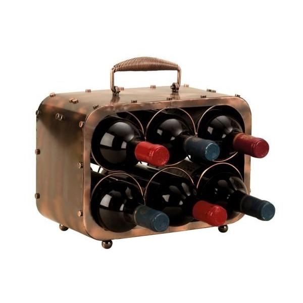 Suport pentru Sticla Vin, model Valiza, Metal Lucios, Capacitate 6 Sticle, H 23 cm Latime 30 cm 0