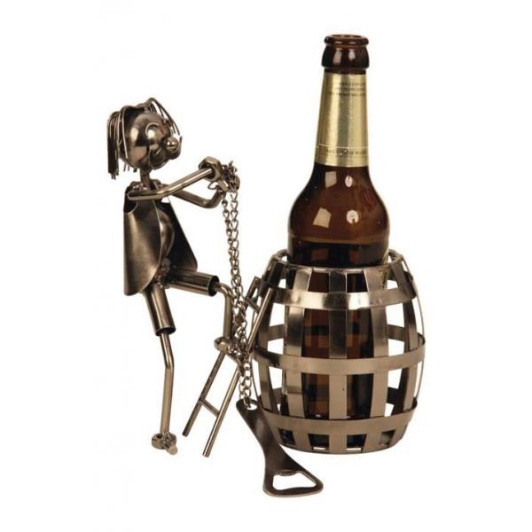 Suport pentru sticla bere, model butoi, metal lucios, H 20cm 0