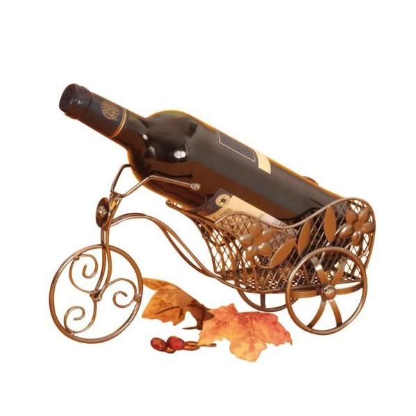 Suport din Metal lucios pentru Sticla de Vin, model bicicleta, Argintiu/Negru, capacitate 1 Sticla, H 16 cm L 31 cm 0