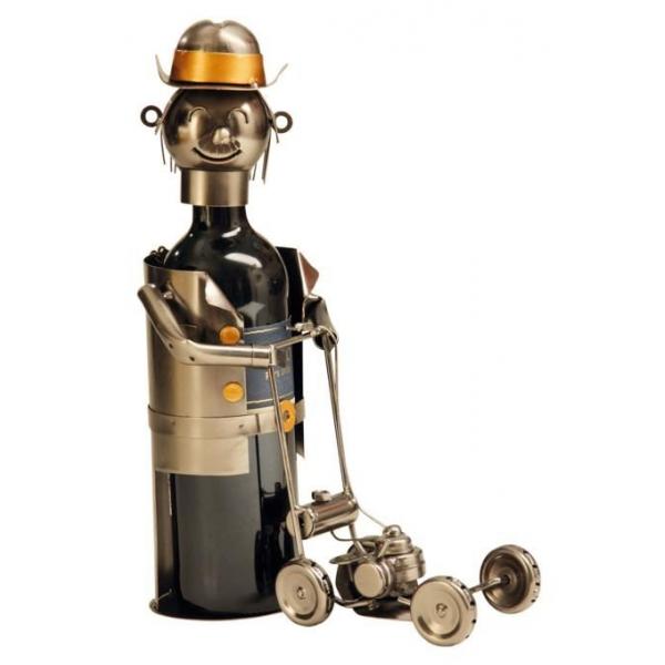 Suport din Metal lucios pentru Sticla de Vin, model Gradinar cu Masina de Tuns iarba, Argintiu/Negru, capacitate 1 Sticla, H 21 cm 0
