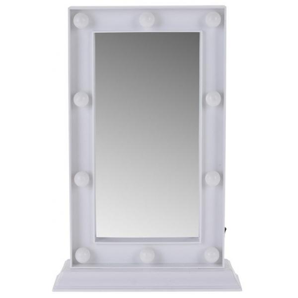 Oglinda cu 10 leduri rama alba Dimensiuni 24x33x5 cm 0
