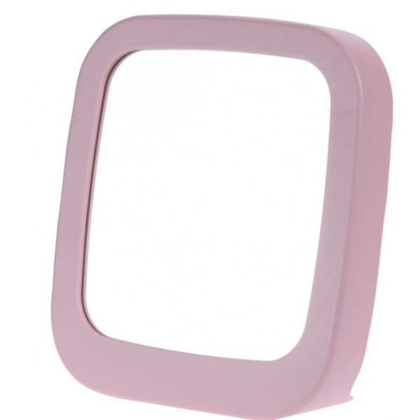 Oglinda pentru Machiaj, Pensat, dreptunghiulara, cu rama Roz si suport stabil, 18.5x19.5cm 0