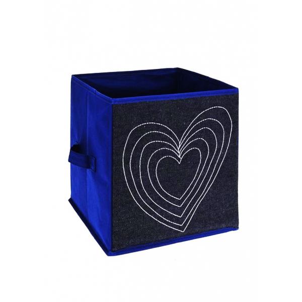 Cutie depozitare jeans, cu manere, model inima, culoare albastra, H 27cm l 27 cm 0