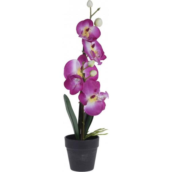 Orhidee roz artificiala 38cm in ghiveci 8X14cm 0