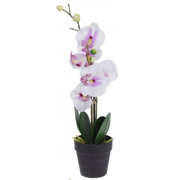 Orhidee alba artificiala in ghiveci 20X10X47 cm 0