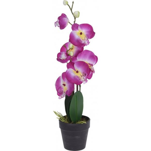 Orhidee roz artificiala in ghiveci 20X10X47 cm 0