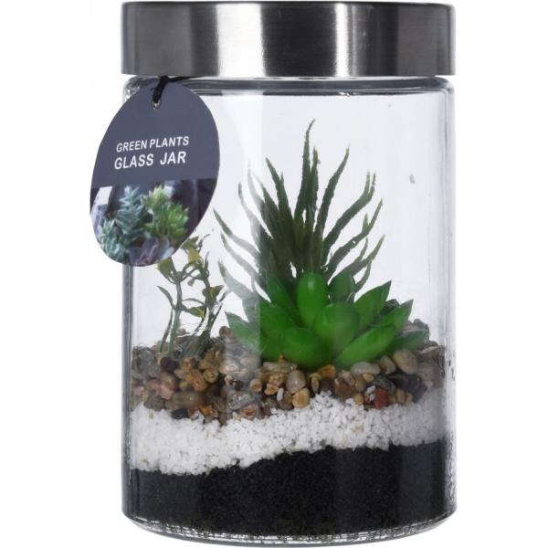 Plante artificiale in recipient de sticla cu capac metalic 11.5x17cm 0