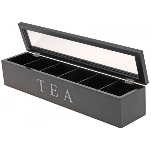 Cutie depozitare ceai 6 compartimente MDF 43x9x8.7cm negru 1